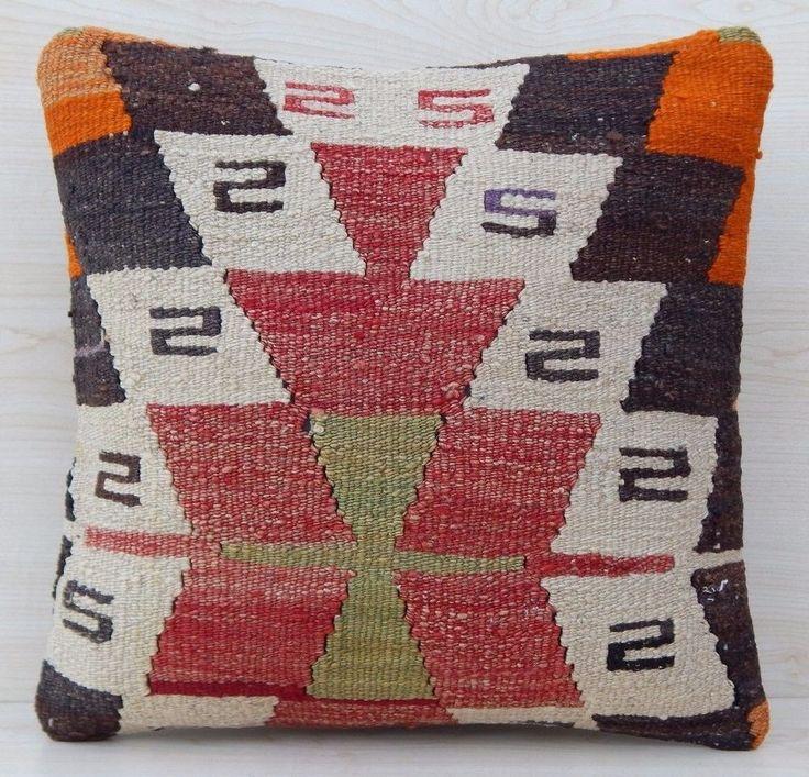 16''x16'' Pastel Soft Color Decorative Kilim Pillow Cover,Handmade Sofa Pillows #Handmade #Country