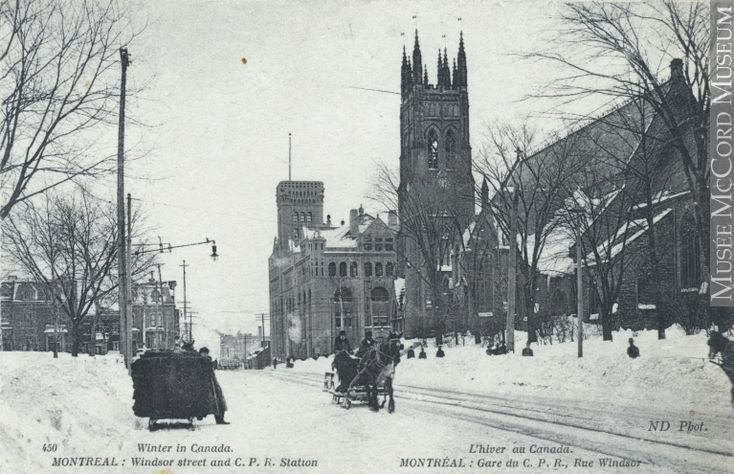 Impression (photomécanique) | Rue Windsor et gare du Chemin de fer Canadien Pacifique, Montréal, QC, vers 1907 | MP-0000.846.9