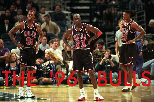 Dennis Rodman, Michael Jordan and Scottie Pippen.