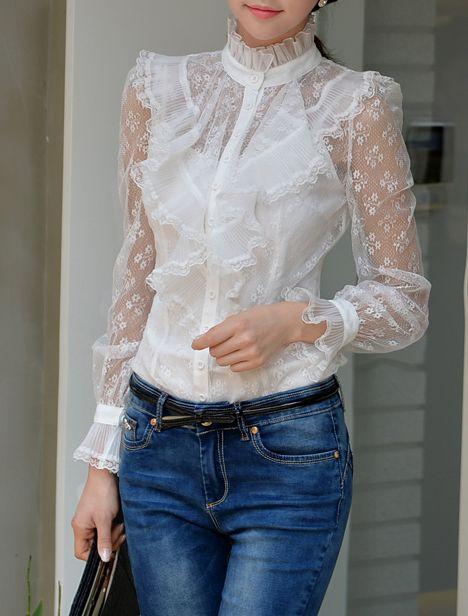 Morpheus Boutique - White Lace Falbala Collar Long Sleeve Shirts, $129.99 (www.morpheusbouti...) wonderful, i love that one.