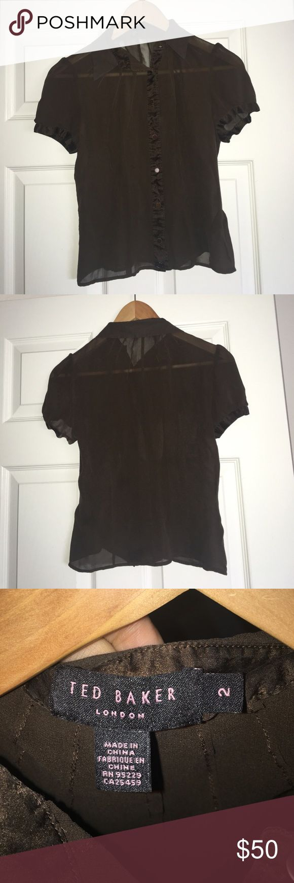 Ted Baker short sleeve blouse Beautiful 100% silk brown Ted Baker size 2 blouse, see through material Ted Baker Tops