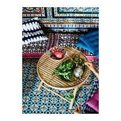 IKEA - JASSA, Table basse, Se replie, facile à ranger.Les pastilles en caoutchouc incluses permettent de protéger le sol des rayures.Fait à la main par des artisans qualifiés, ce qui confère à chaque produit un motif et des dimensions uniques.Le vernis transparent crée des variations de couleur naturelles et protège le meuble de l'usure.