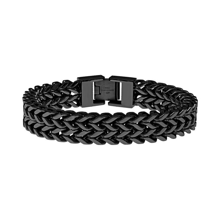 """Lynx Black Ion-Plated Stainless Steel Wheat Chain Bracelet - Men, Size: 8"""""""