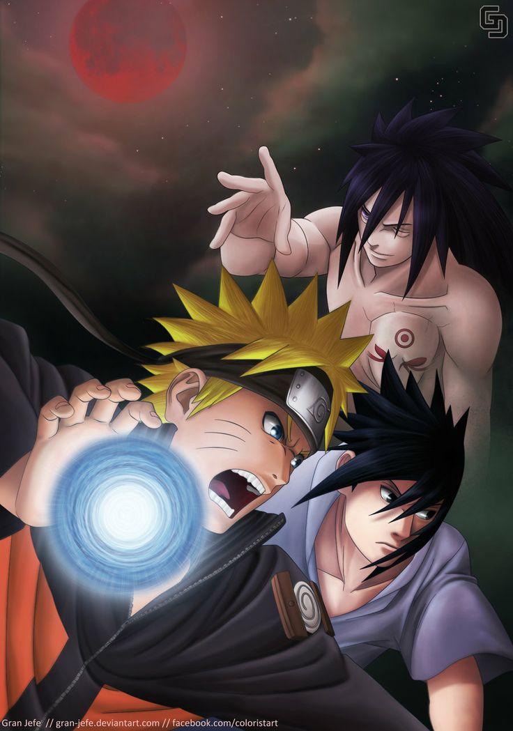 Naruto y Sasuke vs Madara by gran-jefe