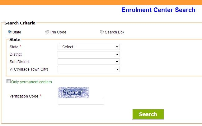 Nearest Aadhar Enrolment Update Centre Search Check Aadhar