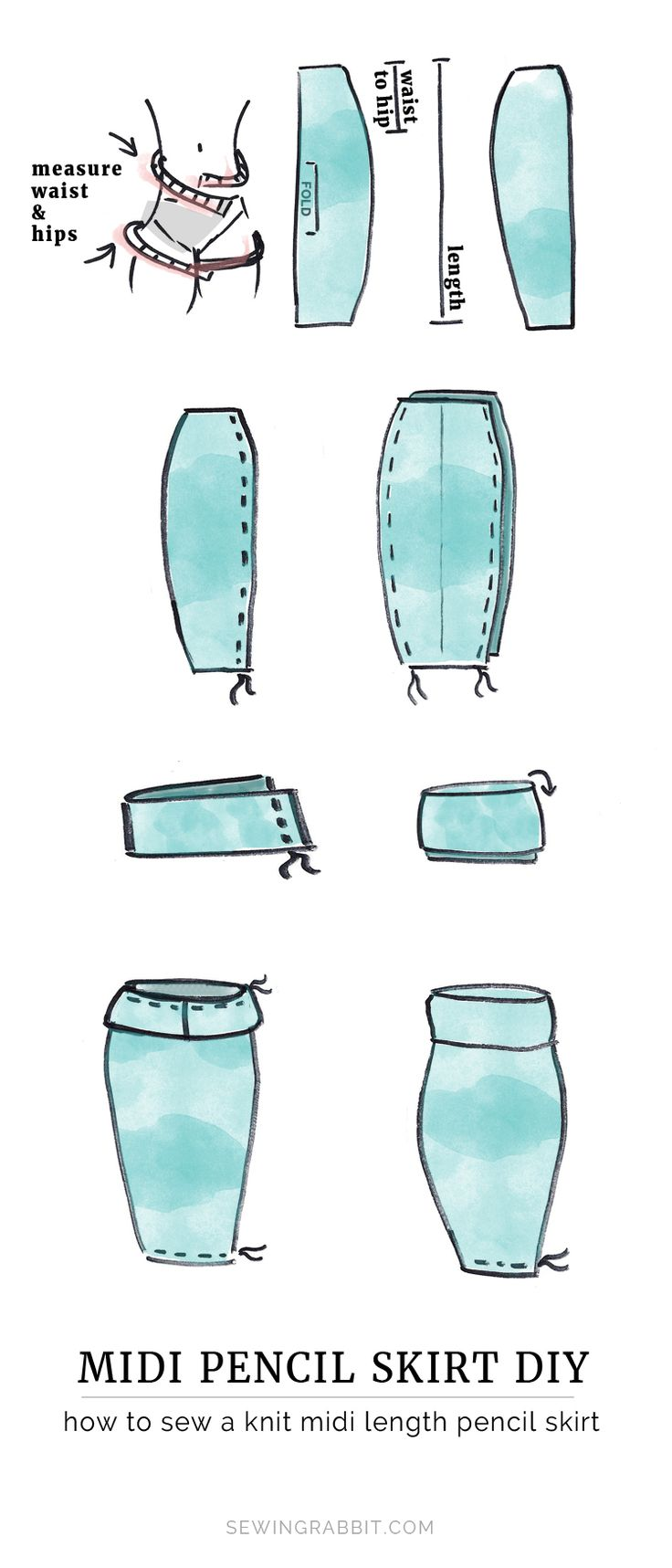 How to sew a midi pencil skirt || Midi Pencil Skirt DIY Casual cool DIY chic this Summer