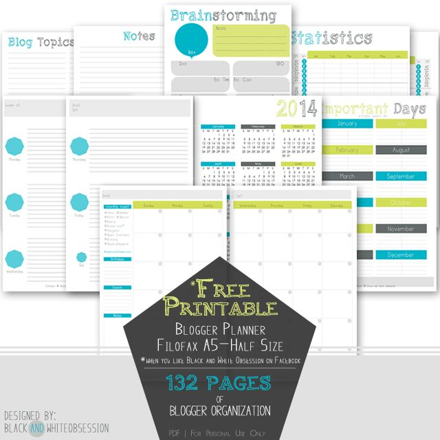 Free Printable Blogger Planner | Half-Size (Filofax A5)