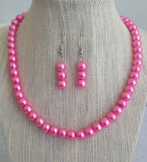 Pink Pearl Necklace Pink Bridesmaid Jewelry by CherishedJewelryCo, $22.00