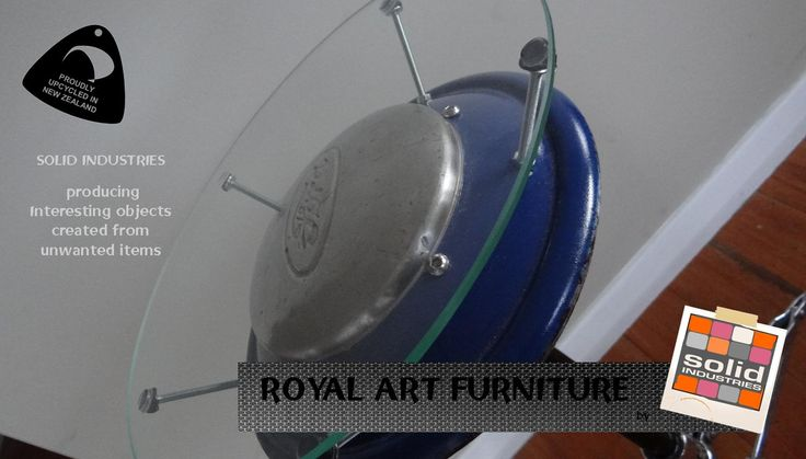 Classic ford hub cap side table. solid Industries, royal art furniture, upcycle