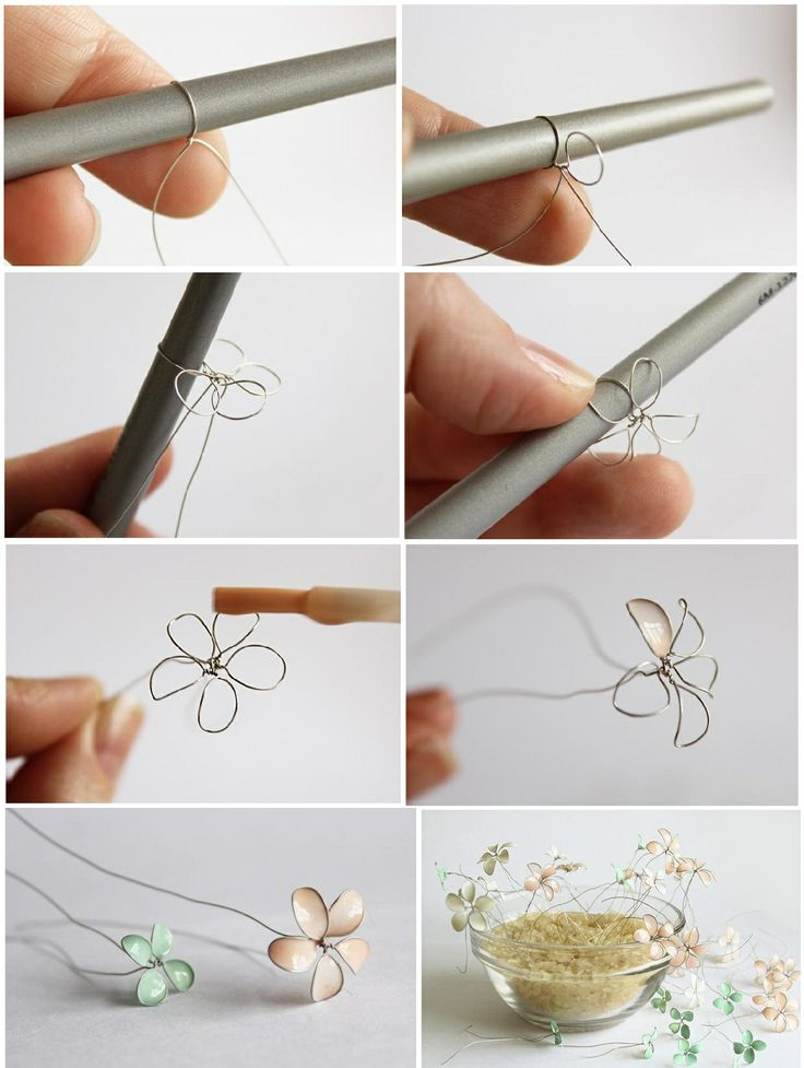 Cute nail polish and wire accessory! #easy #titorial #DIY #accessory #spring #nailpolish #pastel #flowers #inspiration