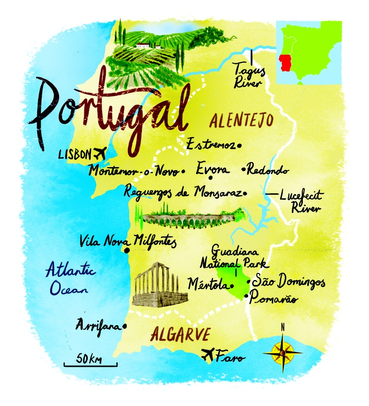 Best Portugal Images On Pinterest Places Portugal And Travel - Portugal map lisbon to algarve