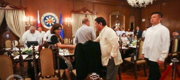 President Rodrigo Duterte admits looking at Robredo's legs during a cabinet meetingDuterte says Robredo often wears short skirts in MalacañangHe also joked that the vice president might as well just wear shortsPresident Rodrigo Duterte has again teased his vice president, Leni Robredo, publicly as he admitted that he would look at her legs when she wears skirts in their Cabinet meetings.Duterte, during his speech in Tacloban City for the third anniversary of the Supertyphoon Yolanda, said…