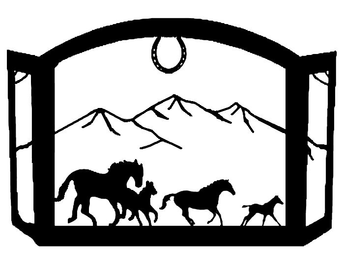 Horses Running in the mountains Scenic Western Fireplace Screen exclusive design heavy recycled steel american made western horses fire screen western decor
