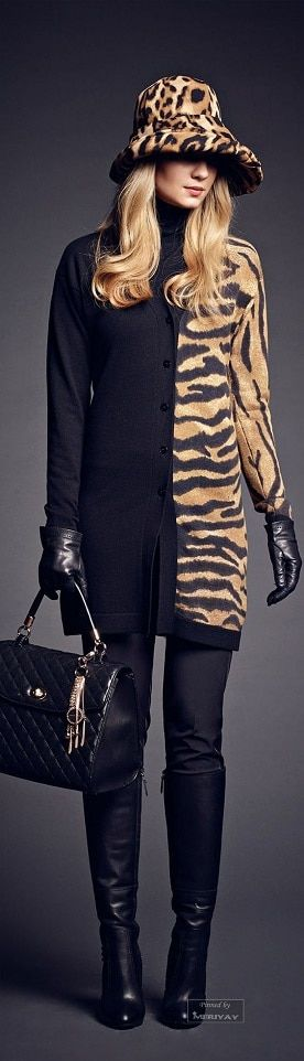 Fall 5 Hottest Prints....animal print. Leopard hat with black and camel color zebra print dress
