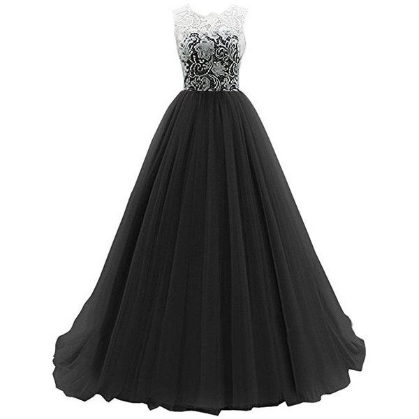 WHENOW Women's Sleeveless Lace Long Prom Dresses Party Ball Gowns ($87) ❤ liked on Polyvore featuring dresses, gowns, long party dresses, lace gown, lace dress, prom gowns and long lace gown