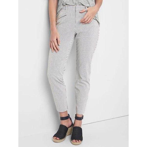 Gap Women Seersucker Skinny Ankle Chinos ($36) ❤ liked on Polyvore featuring pants, blue seersucker, petite, white stretch pants, petite white pants, seersucker pants, stretchy pants and chino pants