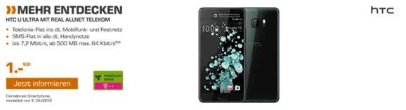 HTC U Ultra 64 GB zum Vertrag für 1,00€ mit der Mobilcom-Debitel real Allnet im Telekom-Netz nur rechnerisch 10,13 € Grundgebühr    #HTC U Ultra