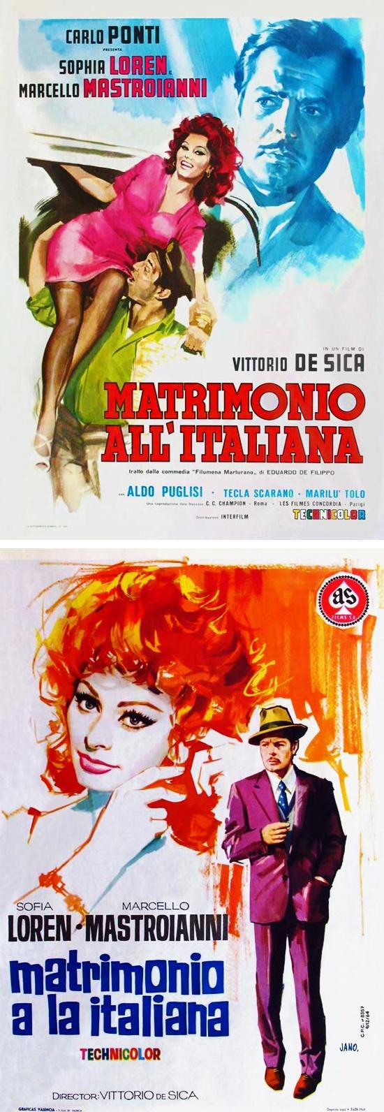 Promotional Posters for 'Matrimonio All' Italiana' (1964) (Marriage Italian Style) Sophia Loren with Marcello Mastroianni