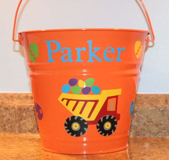 Personalized Easter basket/pail for boys - Dump Truck and Easter eggs on Etsy, $15.00