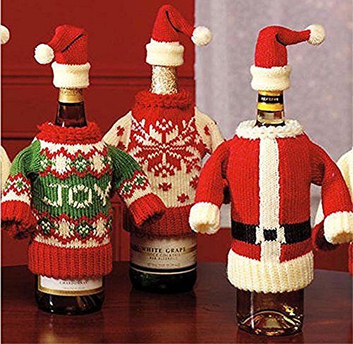 Wine Bottle Covers, Christmas Winter Holiday Knit Sweaters - Set of Two