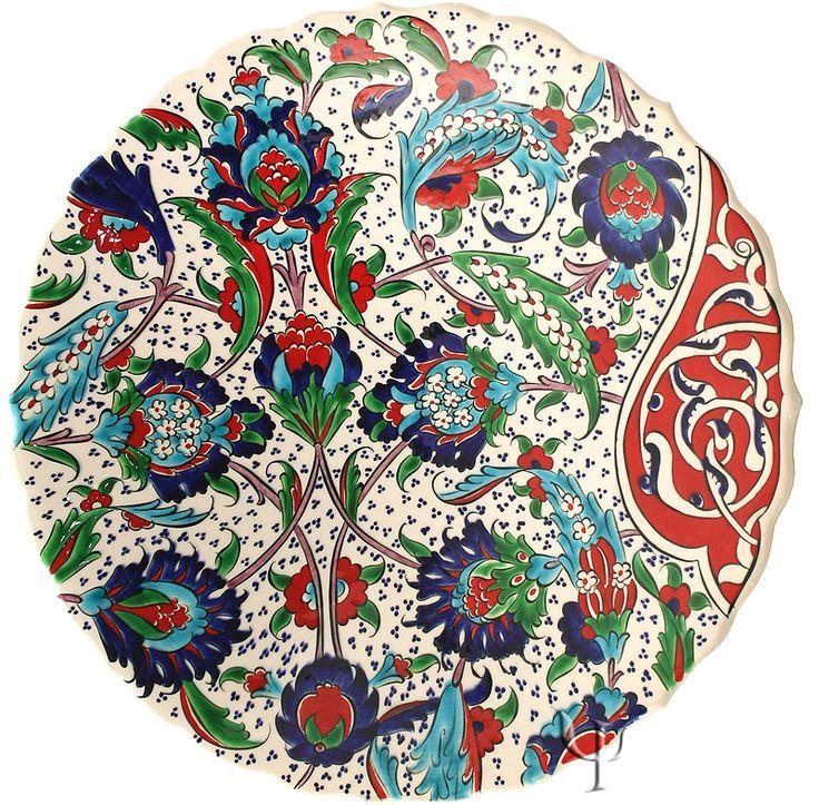 Iznik Design Ceramic Plate - Spring Flovers and Rumi