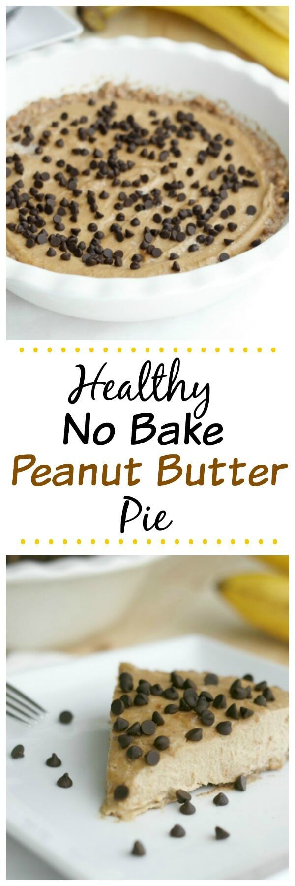 Healthy No Bake Peanut Butter Pie. A simple and delicious recipe made with clean eating ingredients. Gluten free, vegan, and 21 Day Fix approved.