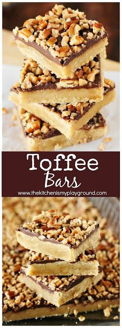 Toffee Bars ~ Brown sugar cookie crust topped with chocolate, toffee bits, and pecans. Rich & delicious. Perfect for snacking, cookie trays, gift giving, or just because!