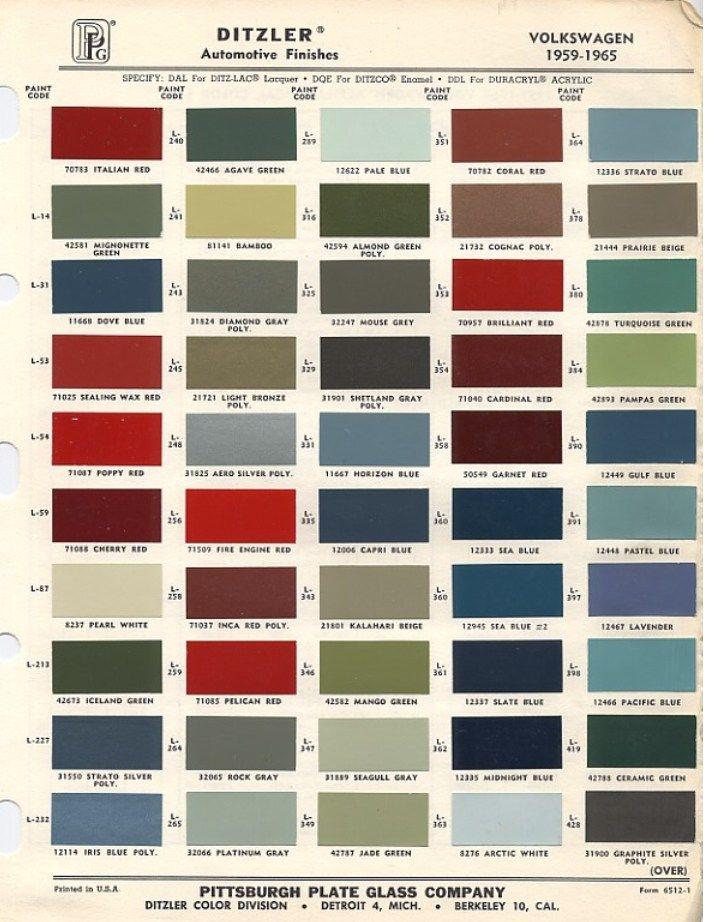 Original VW Beetle Paint Schemes