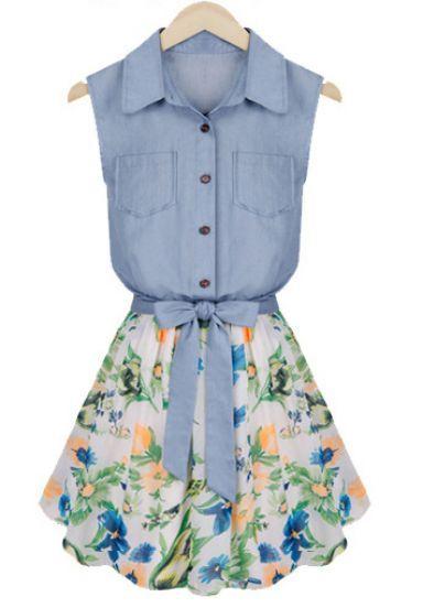 Blue Sleeveless Bowknot Contrast Chiffon Denim Dress pictures