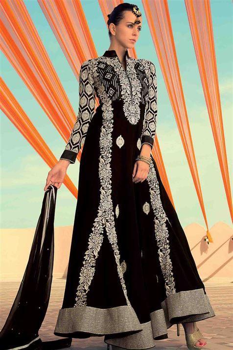 Black Long Length Georgette Party Wear Anarkali Suit