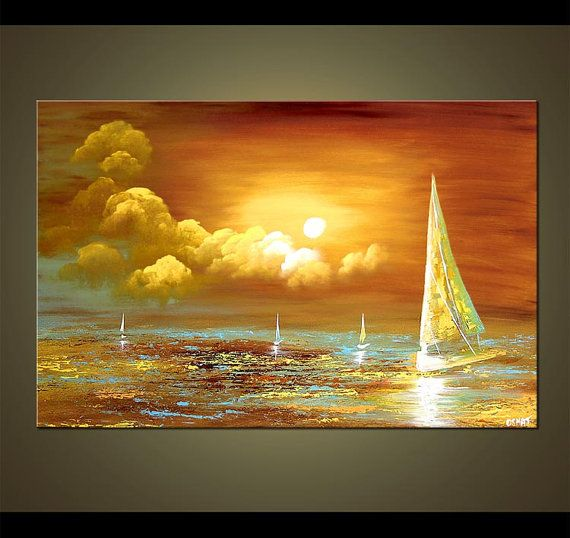 """Sailboat Painting Abstract Sunset in Sea Original Acrylic Painting by Osnat - MADE-TO-ORDER - 36""""x24"""" on Etsy, $599.00"""
