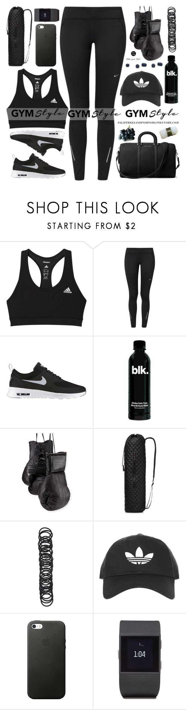 """Gym Essentials"" by palmtreesandpompoms ❤ liked on Polyvore featuring adidas, NIKE, Elisabeth Weinstock, M Z Wallace, Forever 21, Topshop, Fitbit, MICHAEL Michael Kors and Jura"