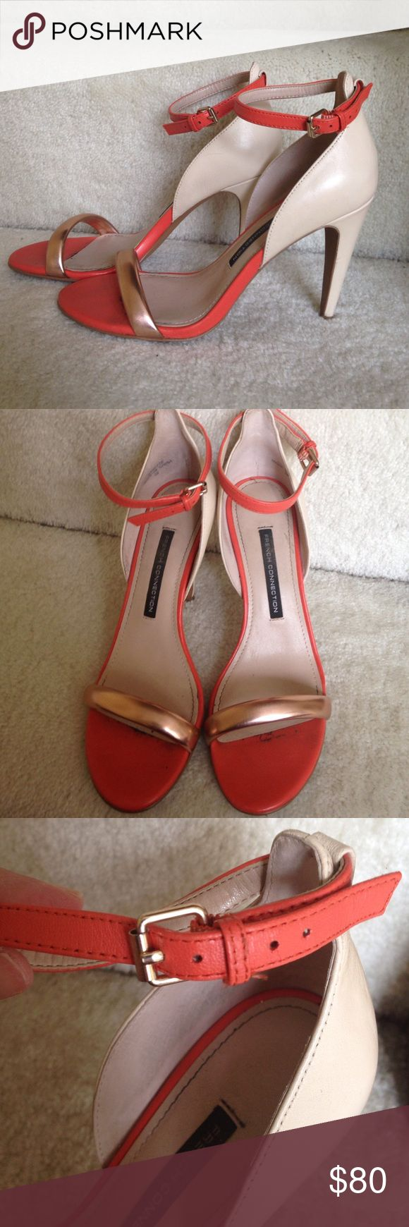 Adorable French connection ankle strap heels Love the orange and rose gold combo. Perfect for warmer months. Worn only once! French Connection Shoes Heels