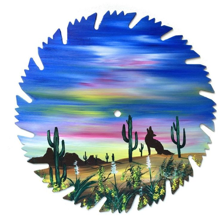 Hand Painted Saw Blade Art  Southwestern  Coyotes  9 1/4 Inch
