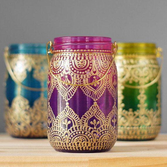 Gypsy Hanging Lantern Bohemian Style Mason Jar Candle by LITdecor