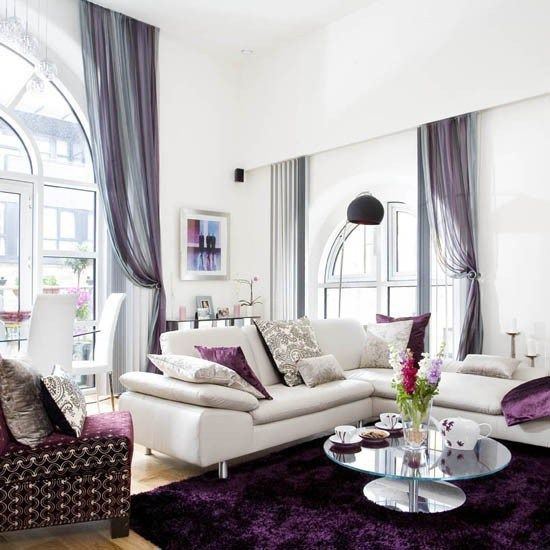 45 best Purple and Grey living room images on Pinterest Grey - purple and grey living room