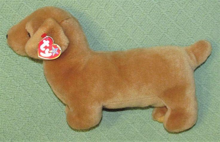 Vintage Ty DACHSHUND Weenie Beanie Buddies 1999 with HEART TAG Plush Puppy Dog #ty