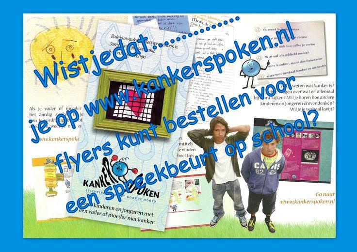 flyer - kankerspoken. Voor meer info kijk op www.kankerspoken.nl  of op Facebook.