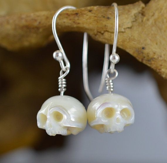 Carved Skull Pearl Dangle Sterling Silver Earrings - Carved Pearl Jewelry - Skull Earrings - Skull Jewelry - Gift for Her - Halloween
