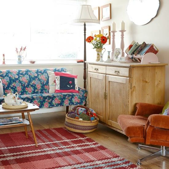 Retro living room with reclaimed furniture | housetohome.co.uk