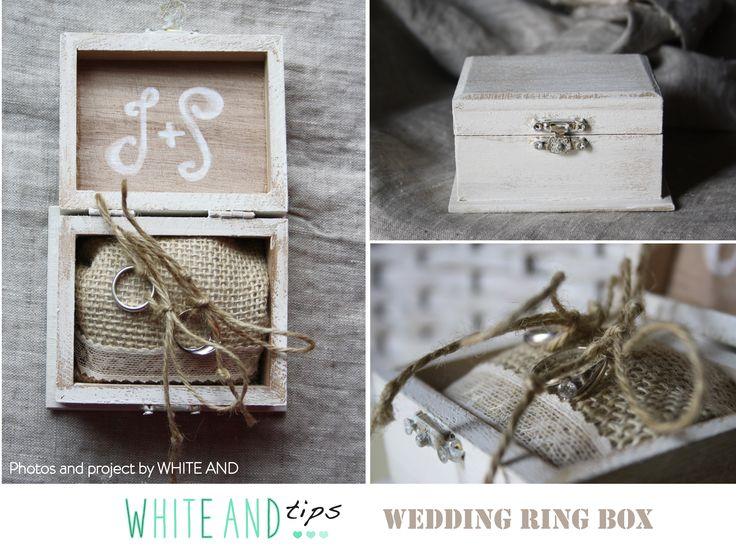 Wedding ring box, shabby chic. Buy it here for $33.50: https://www.etsy.com/listing/233264768/shabby-chic-ring-box-pillow-ring?ref=shop_home_active_1&ulsfg=true #ringbox #wedding #whiteand #portafedi #matrimonio #fedi #cuscino