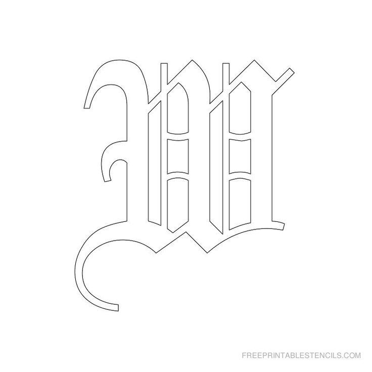 Printable Old English Alphabet Stencil W