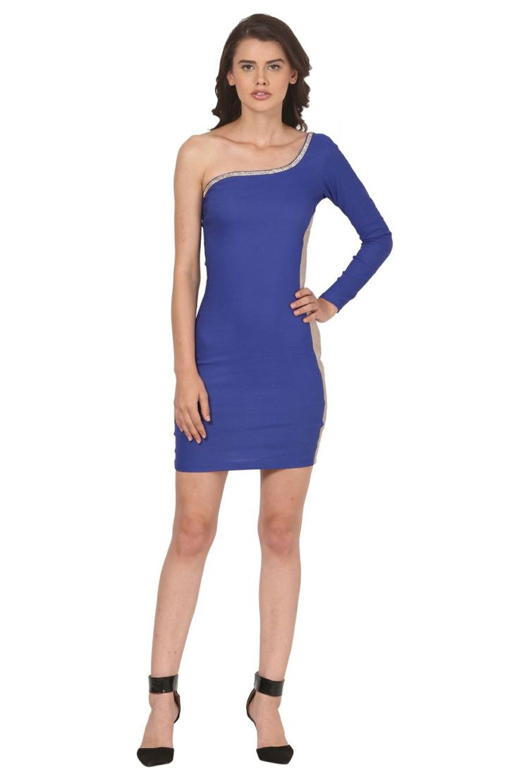 Beautiful blue color one sided long sleeves one piece