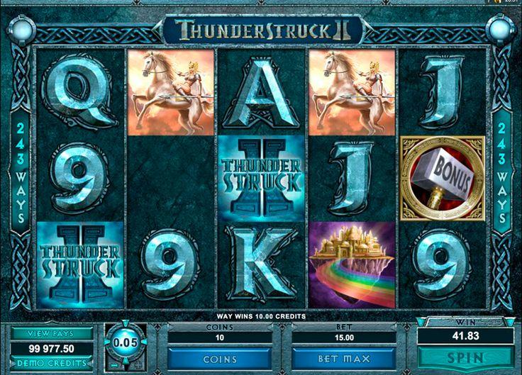 Thunderstruck II   on Kertojan Symboli, joka korvaa kaikki symbolit paitsi Hajontamerki. Kun Thunderstruck on voittoisa yhdistelmä voittokerroin yhdistelmää kaksinkertaistuu. 5 erämaan tahansa aktiivisella voittolinjalla antaa suurin voitto on 1000 kolikkoa tärkein pelin aikana. Hammer on Hajontamerki. 2 tai enemmän Hajontamerkiä missä tahansa seis kohtaan rullia antaa voiton. 3 tai enemmän Hammers avaa juhlasalissa kierrokset.