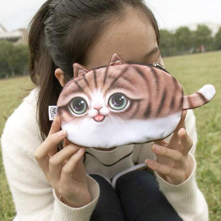Coin purse New 3D girl wallet bag ladies face zipper mini cat animal coin purse children's purse plush coins pouch kawaii bag *** Podrobneye otzyvy o produkte, posetiv ssylku na izobrazheniye.