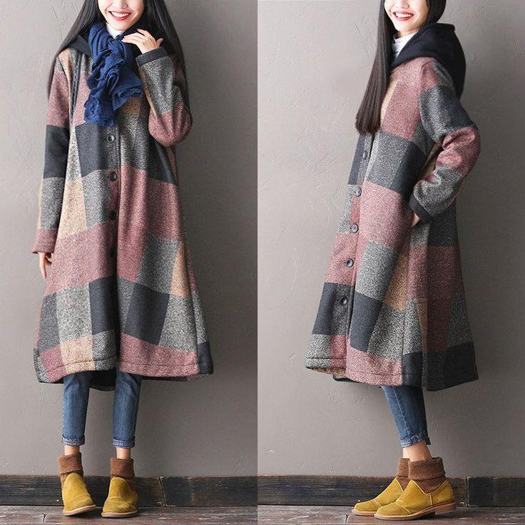 Loose Hooded Wool Coat