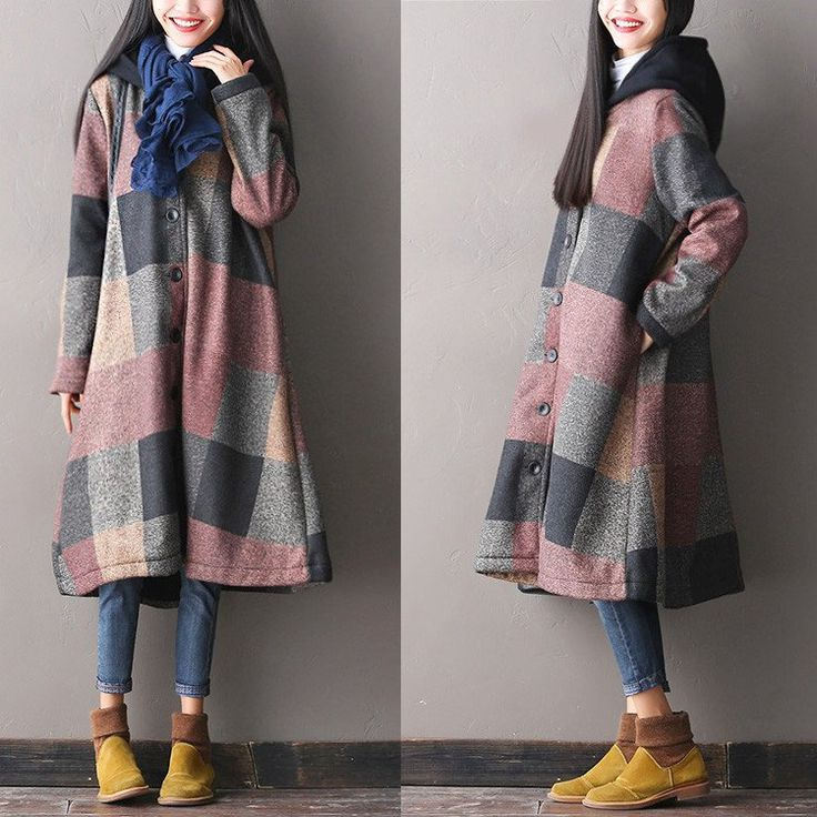 Loose Hooded Wool Coat