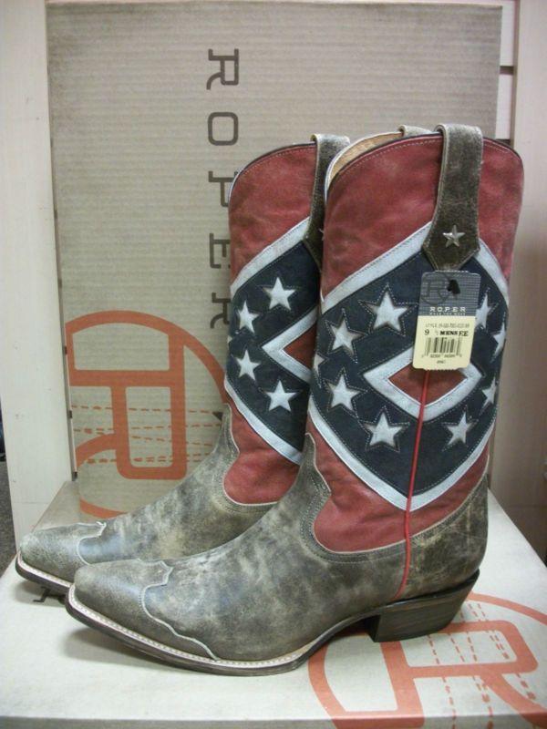 mens roper brand american rebel flag western boots style