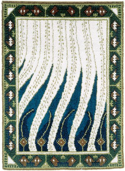 Finnish Art Nouveau rug Liekki design by Akseli Gallen-Kallela to Paris World Fair (1900).