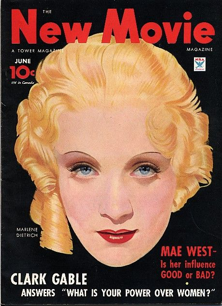 """""""The New Movie Magazine"""", June 1934, Marlene Dietrich cover by Clark Moore."""